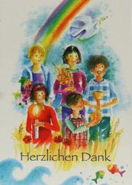 Kommunionkarte Danksagung Kinder und Regenbogen