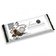 Isländische Schokolade. Milchschokolade mit Lakritz. Meersalz Schokolade