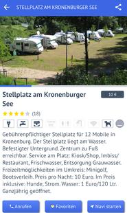 Stellplatz in der promobil-App