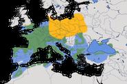 Karte zur Verbreitung des Sommergoldhähnchens (Regulus ignicapilla) weltweit.