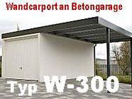Wand-Carport an Betongaragen Foto