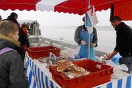 Marchand de coquilles Saint-Jacques en face de la baie de Somme à Saint-Valery