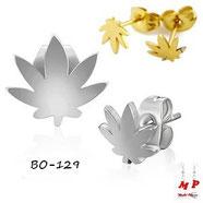Boucles d'oreilles feuilles de cannabis marijuana deux dorées ou argentées
