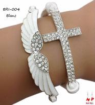 Bracelet blanc in similicuir aile et croix à strass