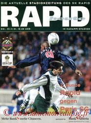 Programme  Rapid Vienne-PSG  2001-02