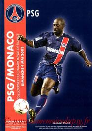 Programme  PSG-Monaco  2002-03