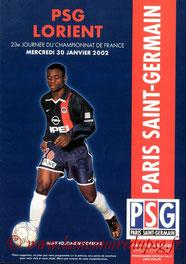 Programme  PSG-Lorient  2001-02