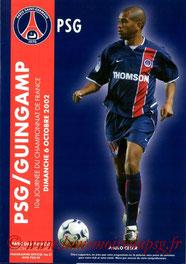 Programme  PSG-Guingamp  2002-03
