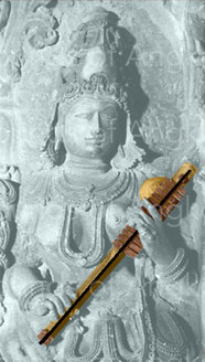 4. Fretted zither with resonator called kinnari or kingra. Halebid temple, India. 12th c.