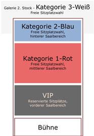 Schematische Sitzplatzverteilung bei Kabarett-Veranstaltungen