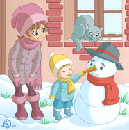 cchildren illustration_chil giving nose to snowman