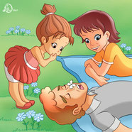 children-illustration_white butterfly lays on daddy nose while his family looks and laugh
