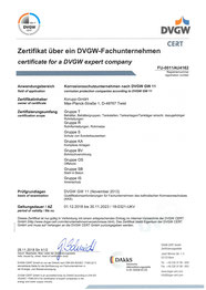 Zertifikat DVGW Deutsch