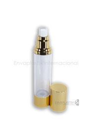 botellas ailress, envases airless dorado, envases de acrílico, envases cosméticos, envases para maquillaje