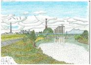 ③25/9月 茨城藤代:小貝川のJR鉄橋 川の土手から上流に筑波山をバックにシンプルなJR鉄橋が見える。