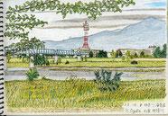 ②23/10神奈川海老名:相模川 JR相模線の駅近くの川原から対岸と丹沢が見える