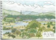 ⑧23/4 相模原下溝 相模川 JR下溝駅から近い橋に向うと、河原に下りる階段の途中から20m位下を流れる相模川と対岸の厚木市を全体的に眺める展望アングルが広がっていました。