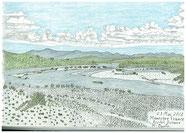 ⑤25/6 フランス-マノスク郊外: デュランス川 駅から50分歩いたつり橋からデュランス川の広い流れが強い日差しの中で見えました。
