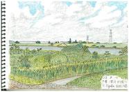 ①23/8千葉 滑川 利根川  夏のスケッチは暑さが大敵ですが、夏の雲は特有のもので暑い風景には欠かせず画面で空を大きくとります