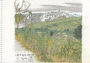 22/11新潟上越市新井 大倉山 妙高山の形が厳しさのない釣鐘型だったので隣の山を描いた