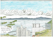 ⑬26/7 横須賀浦賀 房総半島 京急浦賀駅から市内の愛宕山公園に登り、浦賀水道を見下ろして日影からスケッチ。住宅地近くでも場所を選べば遮るもののない、夏の景色がみえると感じました。