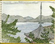 ②20/3広島生口島:向上寺 故平山郁夫画伯の出身地の丘から三重塔越しの瀬戸内海