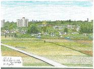 ②25/5 横浜緑区:中山=十日市場間 自宅から徒歩圏の高台にある老人ホームの駐車場からJR横浜線方向を見た風景です。手前に調整地域の田んぼが広がり、背後に郊外住宅地の建物が見えます。