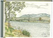 ③20/4新潟直江津:関川と妙高 ゆったり流れる川越しに妙高の山が見える
