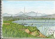 ⑥24/6 青森野辺地:八甲田山・陸奥湾  八甲田山のおどけたような雪形がJR線から陸奥湾越しに見え下車し描きました。