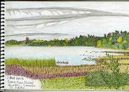 ②24/10 カナダ-モントリオール郊外:オタワ川の岸辺 川に面した庭から鮮やかな色の草が茂る穏やかな初秋の風景が見えました。