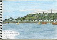 ①24/9月 カナダ・チクティミ(ケベック州):サグネ川に係る古い橋 この川は昔氷河で川幅5㌔になる。川幅が狭い市内に古い橋がある。