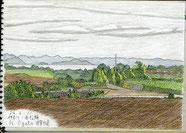 ②24年6月神奈川三浦松輪浦賀水道 剣崎に近いバス停近くの畑の道から浦賀水道と房総が良く見えた