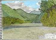 ⑩24/8 茨城大子町西金 久慈川 水戸駅からJR水郡線:西金駅下車。駅近くの採石場近くの川原から、両側に山が迫り、その先に空が見える夏らしい川の景色でした。