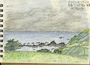 ①19/9青森:ウェスパ椿山海岸 JR五能線の駅から海に広がる小雨の海岸