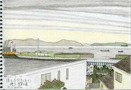 ②25/2 本牧矢口台から磯子 坂や丘が多い横浜の高台からはユーミンの歌にあるように、探せば今でも海と船が見える場所があります。