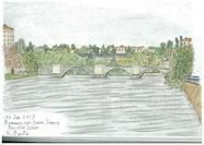 ②25/6月 フランス東部ロマン:イゼール川の古い石橋 ロマンはローヌ川に合流するイゼール川の古い町。冷え込みの中でスケッチした。