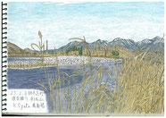 ③25/2 栃木足利:渡良瀬川・赤城山 真冬で雪がある遠くの赤城山を手前の渡良瀬川の土手を通して描きました。