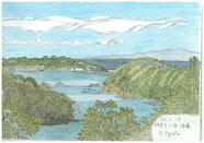 ②26/1月 神奈川三浦:油壷 相模湾に突き出た三浦半島から遠くに見える伊豆半島と油壺湾内の自然を描きました。