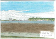 ⑭26/10 横須賀長井 小和田湾 京急バス-長井で下車し、海沿いの公園から対岸の小和田湾をスケッチ。対岸が近くに見え、騒がしい夏が終わった 海辺でした。