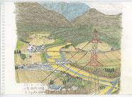 ⑦23/4 山梨須玉 日野春 JR日野春駅を降りて東側の甲斐駒ケ岳が見えると言われた変電所裏は前が30m位の崖で高圧線の鉄塔と釜無川が下に見えました。