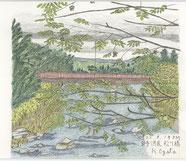 ①22/9岩手松川橋北上川 国道バイパスのバス停近くの橋:沢グルミの枝越しに遠くの山が見える