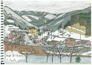 ③ 24/2飛騨宮川臼坂峠下 観光案内は峠からの展望だったが積雪で行けず峠下からとなった