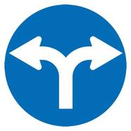 Verkeersbord - uiteenlopende wegen