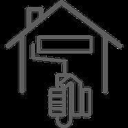 Icon Hand mit Farbrolle streicht Haus von außen