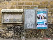 Elections législatives, second tour, panneau électoral de la Mairie de Cambes