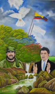Pintor popular llanero quiere regalarle un cuadro sobre la paz al Presidente de la República