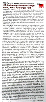 """Anzeige der Bissendorfer SPD im """"Bissendorfer Blickpunkt"""" Nr. 133, April 2011, S.9"""
