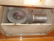 消化器の粉が飛んだ換気扇