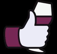 pouce Facebook avec verre de vin