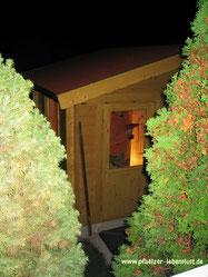 Garten Sauna selbst gebaut Blockhaus Holz Gartensauna Innenausbau